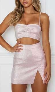 white fox boutique set - baby pink