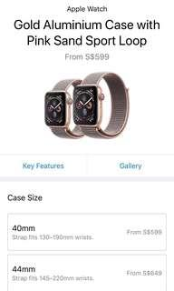 Apple iWatch series 4 rose gold 44mm GPS Retailing $649 selling $550 with additional 5 watch bands