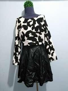 Dress with Leather Skirt
