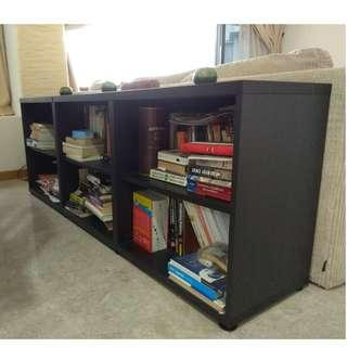 Two black brown bookcases
