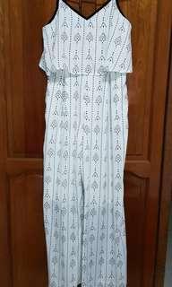 🚚 Something Borrowed White Chiffon Jumpsuit