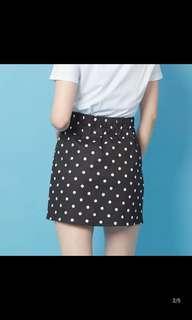 黑白波點短裙 skirt