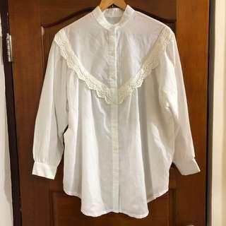 蕾絲公主袖長版襯衫