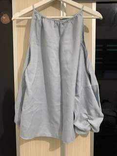 Bluish Grey Off Shoulder Top