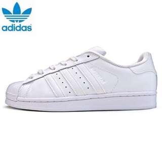 附實體照 Adidas original superstar 全白 貝殼