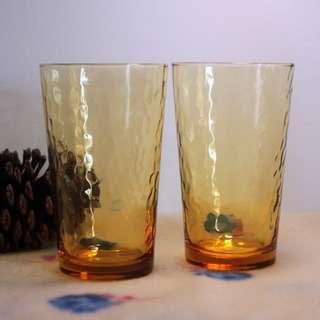 🚚 日本 昭和 琥珀色 錘目紋 玻璃杯 水杯 茶杯 vintage not fire king