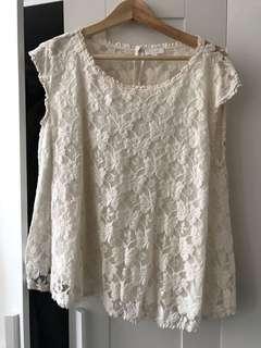 Aritzia sleeveless lace blouse