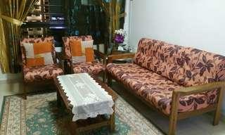 Wooden sofa set ~ 3+2 with coffee table/side table