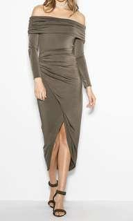 BNWT Off shoulder khaki Sheike dress #SwapAU