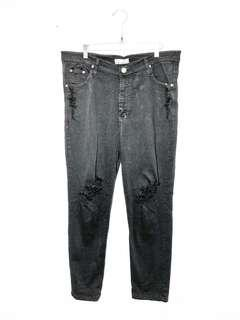 XtoX Big Size Jumbo Ripped Streched Black Jeans Long Trouser Pants
