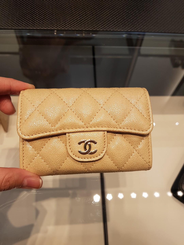 b9d4bc7905b4 19S Chanel Caviar Iridescent Beige pink card holder coin wallet ...