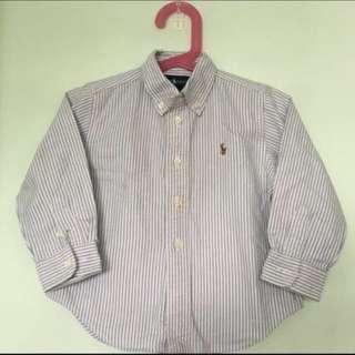 🚚 👔POLO RALPH LAUREN👔 Authentic Boys' Long Sleeve Blue Stripe Shirt/ Top (Size: 24M)
