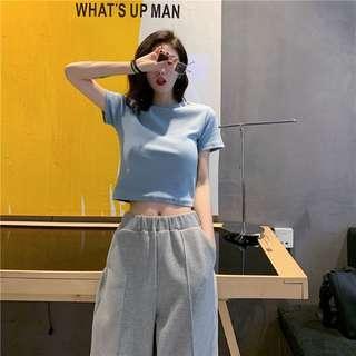 短袖T恤女高腰修身露臍短款上衣