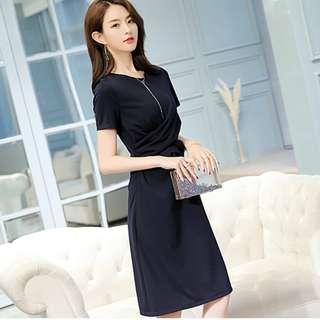 🚚 Korean style navy blue OL one piece dress skirt