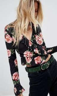 Ruffle Wrap Top in Floral