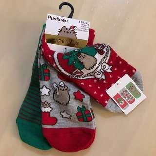 🚚 BN 🐱PRIMARK🐱 3 Pairs Christmas/ Xmas Pusheen Shoe Liners/ Ankle Socks Set (UK 4-8/ EUR 37-42/ USA 6-10)