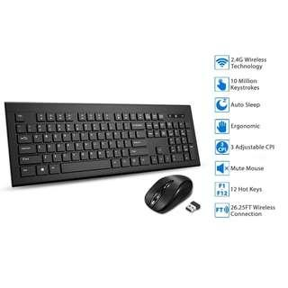 2497 TOPELEK Wireless Keyboard and Mouse Combo, Upgraded Version Wireless Mute Mouse and Ultra Slim Keyboard, 2.4GHz Dropout-Free 26ft Connection, with Nano Receiver for PC Mac Desktop Windows XP/7/8/10