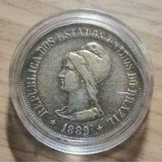 巴西1889 共和國開國500雷斯(reis)銀幣 AU+ 完整金紅包漿 高銀 保真 附透明小圓盒