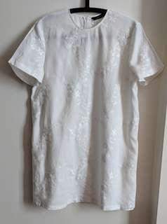 Zara White Embroidery Dress