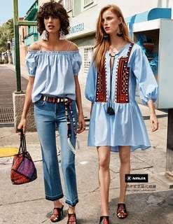 H&M民族風刺繡燈籠七分袖寬松連衣裙
