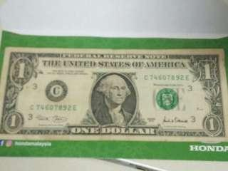 US One Dollar Banknote with extremly rare printing error
