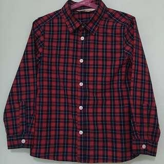 👔H&M👔 Authentic Boys' Long Sleeve Navy Blue Red Checkered Shirt/ Top (Size: EUR122)