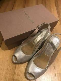 Casteller Wedge Espadrilles Sandals in light silver suede (Eur 36)