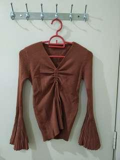 Knitted Drawstring Top with Bell Sleeves