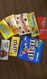 M&Ms, Lemonhead, Walkers short bread, Mc Vitie's, Haribo, Red velvet Oreo, Reese's, Raisinets, Whoppers, Butterfinger, Kitkat