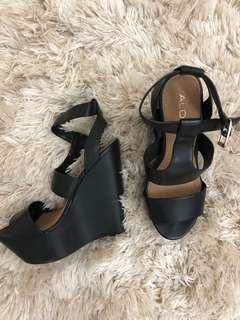 Aldo black wedge sandals size 7.5