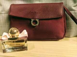 Salvatore Ferragamo Maroon Cosmetic Travel Kit with 30ml Signorina Parfum