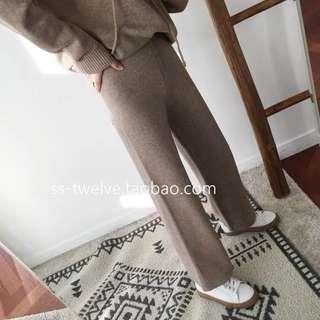 🚚 wuzo同款 裸色羊毛針織長褲 高腰 寬鬆 燕麥色S/M
