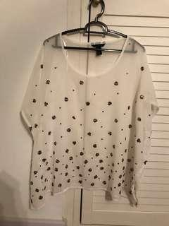Embellished silver white flare sheer TOP