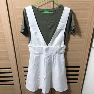 🚚 GU兩穿白色吊帶裙