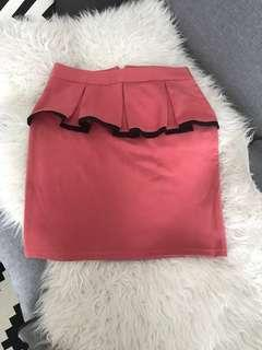 Pink peplum skirt for work or casual