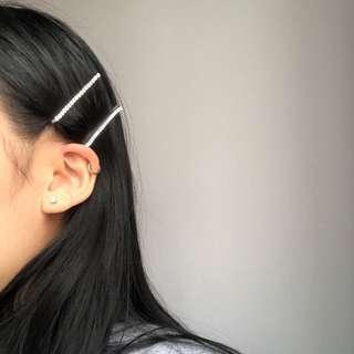 rhinestone clips (two)