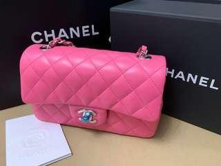 Chanel cf mini Barbie pink 桃紅色羊皮銀扣