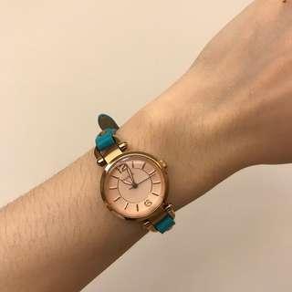 🚚 FOSSIL 玫瑰金藍綠色錶帶女錶 全新