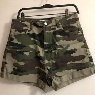 Bershka Army Print Shorts