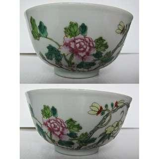 Chinese famille rose bowl with  Peony Flower and red bat.