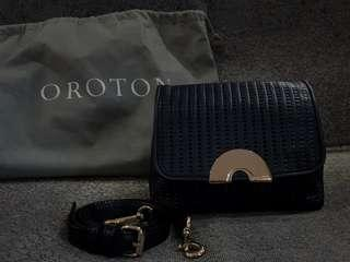 Oroton Baux Woven Sling bag (Midnight Blue)
