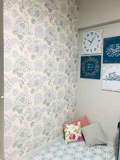 Wallpaper - Misty Blue Floral