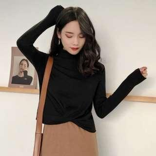 [INSTOCKS] Long Sleeves Knotted Criss Cross Basic Top