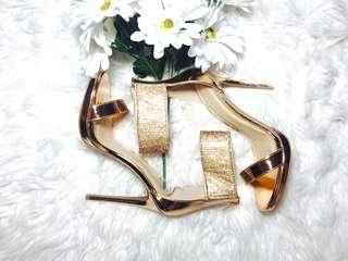 Brand new Rhinestone Embellished Ankle Wrap Metallic Stiletto Heels