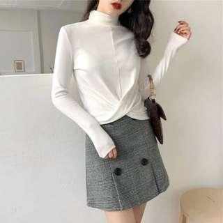 [T968] Long Sleeves Criss Cross Knotted Basic Top