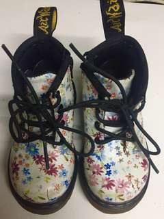 Dr. Martens Delaney Kids White Floral Ankle Boots