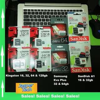 Samsung, Kingston, SanDisk Micro SD Card - 16gb, 32gb, 64gb & 128gb - Free SD Adaptor