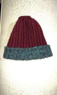 🚚 酒紅色 韓風時尚 毛帽