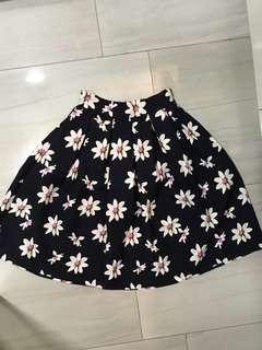 Navy based floral midi skirt