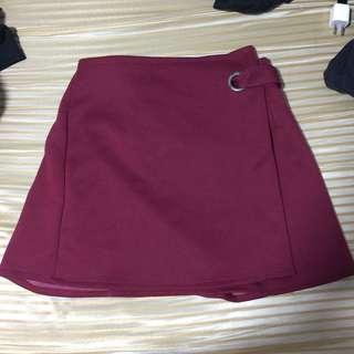 Maroon wrapped skirt